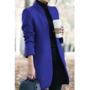 Elegant Coat Open Front Solid Color Collarless Fitted Wool Coat for Women