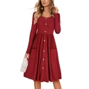 Fancy Women's A-Line Dress Solid Color Front Pockets Button Decoration Round Neck Long-sleeved Midi A-Line Dress