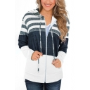 Leisure Jacket Color Block Stripe Printed Drawstring Hooded Front Pockets Long Sleeves Regular Fit Jacket for Women