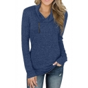 All-Match Women's Hoodie Zip Collar Space Dye Printed Long Sleeves Fitted Hooded Sweatshirt