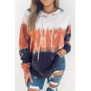 Stylish Hoodie Tie Dye Pattern Front Pocket Drawstring Long-sleeved Fitted Hooded Sweatshirt for Women