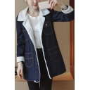 Fashion Letter Patched Hooded Long Sleeve Zip Up Denim Coat with Pockets