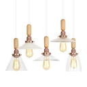 Rose Gold 1 Head Down Lighting Lodge Clear Glass Bell/Cone Shade Hanging Pendant Light with Decorative Wood Top