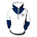 Stylish Men's Hoodie 3D Cosplay Number 99 Pattern Color Block Drawstring Kangaroo Pockets Long Sleeves Loose Fitted Hooded Sweatshirt