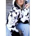 Novelty Womens Jacket Cow Spot Print Rabbit Hair Zipper Detail Regular Fit Long Sleeve Hooded Furry Jacket