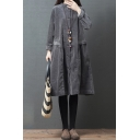 Trendy Women's Shirt Dress Solid Color Corduroy Flap Pockets Button Detail Stand Collar Long-sleeved Relaxed Fit Midi Shirt Dress