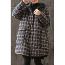 Trendy Coat Quilted Plaid Printed Flap Pockets Button-down Long Sleeves Regular Fitted Coat for Women
