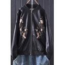 Stylish Women's Jacket Flower Embroidered Zipper Placket Stand Collar Long-sleeves Regular Fitted Leather Jacket