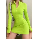 Novelty Womens Dress Solid Color Invisible Zipper Front Mini Slim Fitted Long Sleeve Mock Neck Bodycon Dress