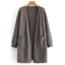 Womens Cardigan Trendy Double Pockets Front Ribbed Trim Drop Shoulder Long Sleeve Loose Fit Cardigan