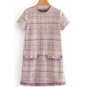 Creative Womens Dress Plaid Tweed Frayed Hem Short Regular Fitted Round Neck Short Sleeve Swing Dress