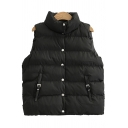 Womens Vest Chic Plain Thick Mock Neck Button down Sleeveless Regular Fitted Padded Vest