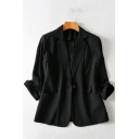 Novelty Womens Jacket Solid Color Thin One-Button Long Sleeve Lapel Collar Slim Fit Suit Jacket