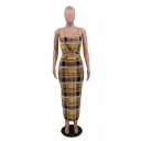 Women's Sexy Off the Shoulder Sleeveless Tartan Check Front tie Maxi Bodycon Dress