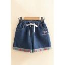 Strawberry Embroidered Elastic Waist Loose Denim Shorts