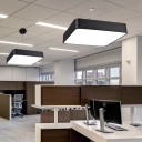 Office LED Pendant Ceiling Light Simple Black Hanging Lamp with Square Acrylic Shade, 18