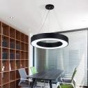 Minimalistic Circular Ceiling Pendant Acrylic LED Office Suspension Lighting in Black, 16