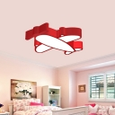 Kids LED Flush Light Fixture Red/White/Pink Helicopter Ceiling Mount Lamp with Acrylic Shade