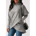 Womens Designer Plain Gray Long Sleeve Tunic Irregular Hoodie