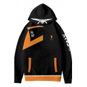 Mens Hooded Sweatshirt Fashionable Colorblock Feather Footprint Letter Pattern Anime Haikyuu Drawstring Long Sleeve Relaxed Fitted Hoodie