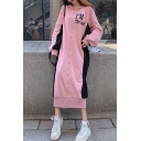 Womens Fashion Hoodie Long Sleeve Letter Print Color Block Zip Shift Sweatshirt Maxi Dress