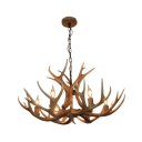 Brown Faux Deer Horn Pendant Lamp Rustic 6 Bulbs Restaurant Hanging Ceiling Light