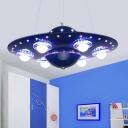Alien UFO Pendant Lighting Kids Metallic Silver/Dark Blue LED Chandelier Lamp for Boys Bedroom
