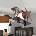 Coffee Turbine Biplane Chandelier Kids 1-Bulb Frosted White Glass Hanging Ceiling Light