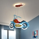 Motorcycle Boys Room Ceiling Light Acrylic Kids Style LED Chandelier Pendant in Blue