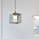 Creative Kids Cubic Hanging Light Iron 1 Bulb Bedside Drop Pendant in Black/White/Yellow and Wood