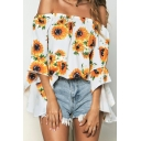 Fashion Summer Floral Print Shirt Womens Kimono Style 3/4 Butterfly Sleeve Cold Shoulder Loose Blouse