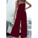 Casual Womens Jumpsuits Plain Pocket Elastic Waist Square Neck Sleeveless Strap Fitted Jumpsuits