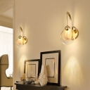 Simple Round Wall Light Sconce Modernity LED Bedroom Wall Lighting Ideas in Gold with Metal Curved Arm