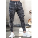 Retro Mens Pants Camouflage Letter Print Panel Zipper Embellished Drawstring Waist Ankle Length Slim Fit Tapered Jogger Pants