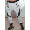 Mens Pants Simple Color Block Panel Letter BE Pattern Zipper Vents Drawstring Waist Slim Fit 7/8 Length Tapered Jogger Pants