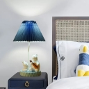 Conical Bedside Table Lighting Pleated Fabric 1-Light Cartoon Nightstand Lamp with Bear and Rabbit Deco in Blue