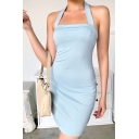 Vintage Womens Dress Plain Halter Square Neck Sleeveless Slim Fitted Backless Mini Bodycon Dress