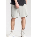 Basic Shorts Solid Color Drawstring Low Waist Relaxed Fit Shorts for Men
