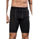 Novelty Mens Shorts Contrast-Waistband Flatlock Seam Quick-Dry Stretch Skinny Fitted Sport Shorts