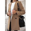 Trendy Women's Blazer Solid Color Double-Breasted Notched Collar Regular Fit Blazer