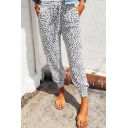 Leisure Women's Pants Leopard Print Drawstring Waist Cuffed Ankle Taper Fit Trousers