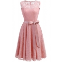 Elegant Floral Lace Panel Bow Belted Plain Patchwork Midi Fit & Flare Dress