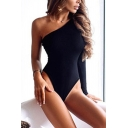 Classic Womens Bodysuit Solid Color Sloping Long Sleeve One Shoulder Slim Fitted Bodysuit