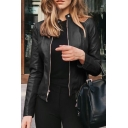 Fashion Women's Leather Jacket Solid Color Button Detail Zip Fly Pockets Long-sleeved Slim Fit PU Leather Jacket