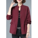 Classy Womens Shirt Plain Ruffle-Trimmed Waist Button-down Elastic Cuff Long Sleeve Stand Collar Shirt
