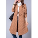 Girls Casual Cotton Windbreaker Plain Quilted Tie-Front Pocket Round Neck Long Sleeve Knee-Long Jacket
