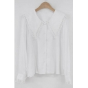 Pretty Womens Long Sleeve Lace Trimmed Peter Pan Collar Button up Relaxed Fit Shirt in White