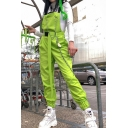 Womens Overalls Pants Chic Bag-Buckle Strap Chain Embellished Cuffed Slim Fitted Overalls Pants