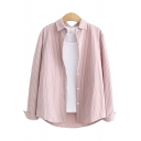 Classic Womens Shirt Vertical Pinstripe Pattern Spread Collar Button Detail Loose Fit Long Sleeve Shirt