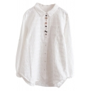 Womens Shirt Stylish Chest Pocket Embroidered Multicolor-Button Detail Turn down Collar Loose Fitted Long Sleeve Shirt